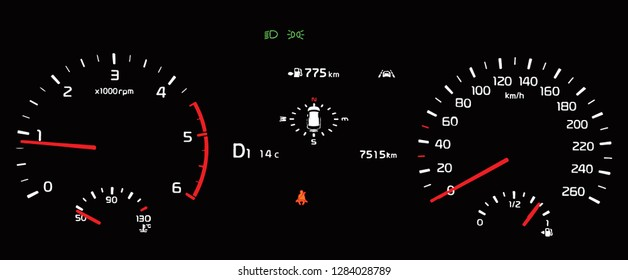 Illustration of car instrument panel with speedometer, tachometer, odometer, fuel gauge, oil temperature gauge, seat belt reminder, dipped beam headlights, lane assist.