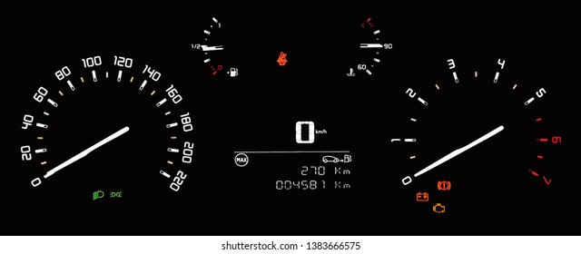 Illustration of car instrument panel with speedometer, tachometer, odometer, fuel gauge, oil temperature gauge, seatbelt reminder, dipped beam headlights, check engine and battery warning.