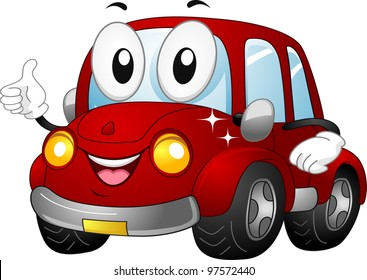 Illustration of a Car Mascot Giving a Thumbs Up