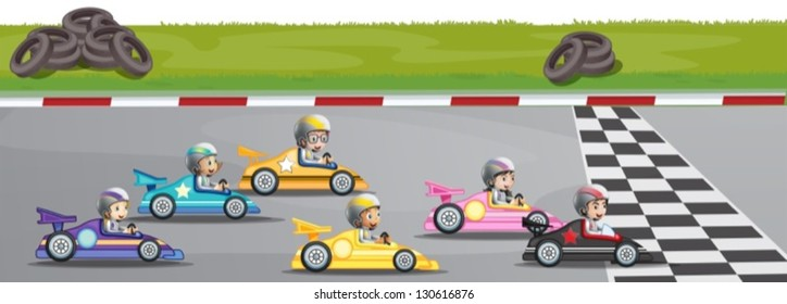 Illustration of a car racing competition