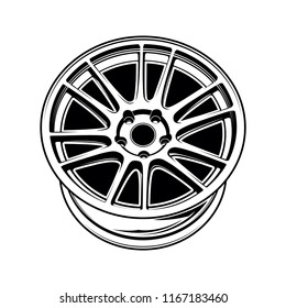 illustration of car wheel monochrome