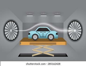 Illustration of car in wind tunnel test.