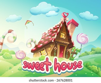 Illustration Caramel Candy Gingerbread House with the words sweet
