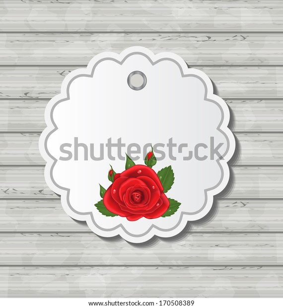 Illustration card with red rose for Valentine Day on wooden texture - vector