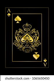 the illustration with the card of spades - ace.