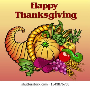 illustration card for Thanksgiving with a cornucopia of fruits and vegetables