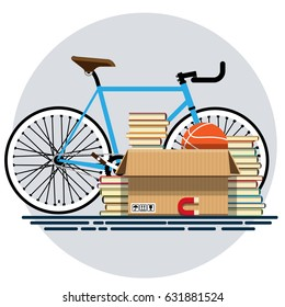 Illustration of a cardboard box with old things in a flat style. Box with old stuff vector. Bicycle, books, basketball, magnet. Vector illustration Eps10 file