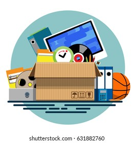 Illustration of a cardboard box with old things in a flat style. Box with old stuff vector. Monitor, clock, files, folder, a drum with a film, a music plate, a calculator, pencils, a basketball.