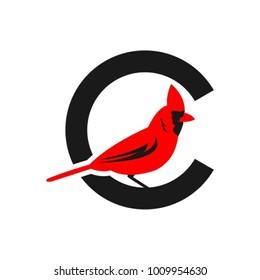 illustration of the cardinal bird logo, vector illustration