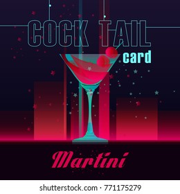 Illustration for the cards cocktails. Cocktail Martini.