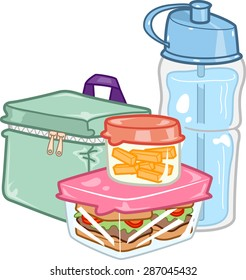 Illustration of a Carefully Prepared Lunchbox Together with a Water Bottle