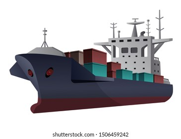 illustration of the cargo ship with containers