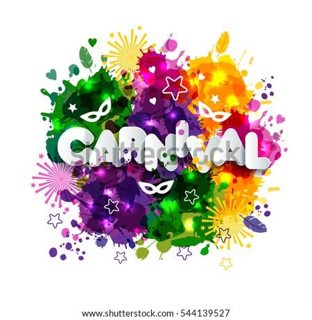 illustration carnival mardi gras on multicolors のベクター画像素材