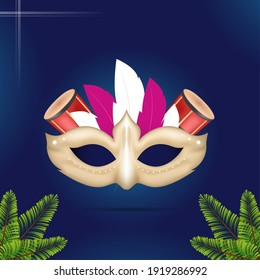 Illustration Of Carnival Mask Wih Conga Drum Instruments And Spruce Leaves On Blue Background.