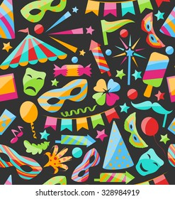Illustration Carnival Seamless Texture with Colorful Cirsus Objects - Vector