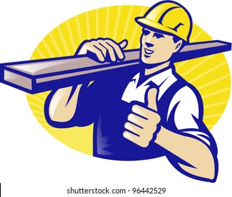 Illustration of a carpenter lumberyard worker carrying plank of wood timber with thumbs up done in retro style