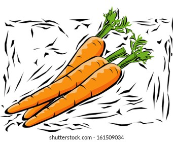 Illustration of carrots in woodcut style