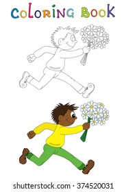 Illustration of a cartoon african boy running with flowers. Valentine's Day