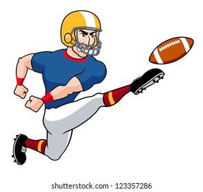 illustration of Cartoon American football player