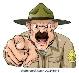 An illustration of a cartoon angry boot camp drill sergeant character