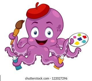 illustration of Cartoon Artist octopus