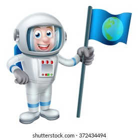 An illustration of a cartoon astronaut holding a flag with the earth on it