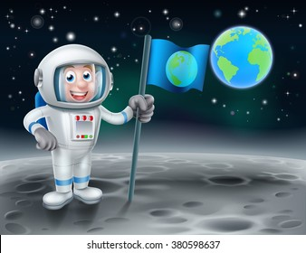 An illustration of a cartoon astronaut holding a flag on earths moon with planet earth in the background