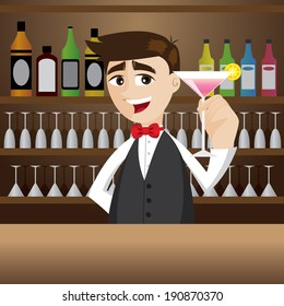 illustration of cartoon bartender with glass of cocktail