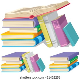 Illustration of cartoon book pile in 3 different versions.