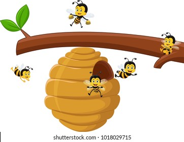 illustration of Cartoon branch of a tree with a beehive and a bee