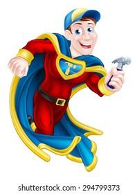 Illustration of a cartoon builder, handyman or carpenter superhero mascot holding a hammer