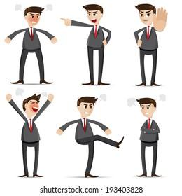 illustration of cartoon businessman angry set