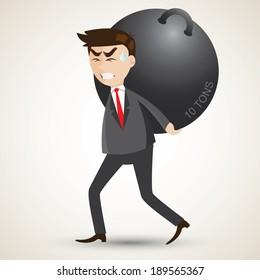 illustration of cartoon businessman carry steel sphere.responsibility concept.