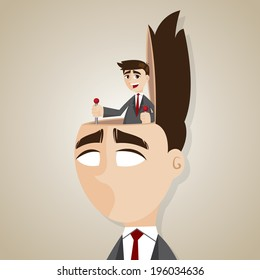 illustration of cartoon businessman control head in brainwash concept