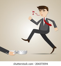 illustration of cartoon businessman with entrapment in risky concept