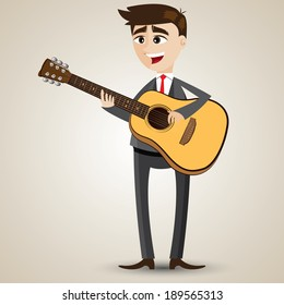 illustration of cartoon businessman playing acoustic guitar