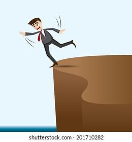illustration of cartoon businessman risky on cliff