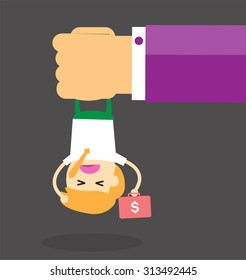 illustration of cartoon businessman squeezed by boss hand in punishment concept. Business man in big hand. Cartoon Flat design. vector. Oppressed, depressed, passive, intimidated. Brutal, Head hanging