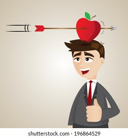 illustration of cartoon businessman with targeted apple on his head in success concept