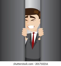 illustration of cartoon businessman tried to open elevator door