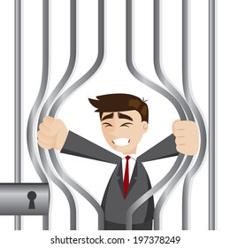 illustration of cartoon businessman trying to break prison