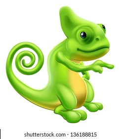 Illustration of a cartoon chameleon mascot standing and pointing