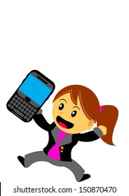 illustration cartoon character businesswoman with qwerty smartphone