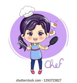 Illustration of cartoon character female chef
