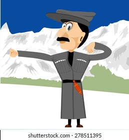 illustration of cartoon character of georgian with a big hat on his head dancing in the mountains