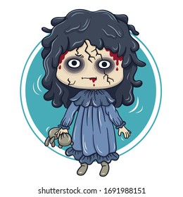 Illustration of cartoon character ghost doll