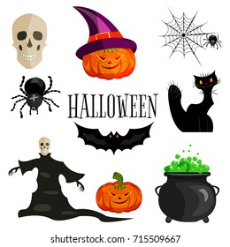 An illustration of the cartoon characters of the autumn holiday. A collection of Halloween symbols. Vector set of skulls, ghost, spider and cobwebs, pumpkin, bat, black cat, kettle light background.
