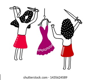 Illustration of cartoon characters: Girlfriends fighting over clothes, shopping item.
