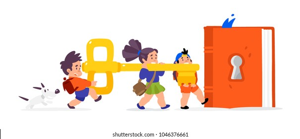 Illustration of cartoon children. Vector flat illustration. Children open a book, knowledge. Library. The key to new knowledge. Image is isolated on white background. Characters for the book.