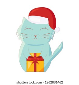 Illustration of cartoon christmas cat with present box. Isolated on white. EPS 10